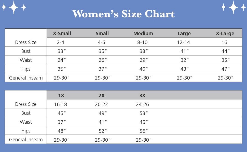 size chart for women