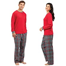 Man and woman wearing pajamas