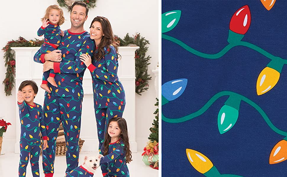 family wearing matching Christmas pajamas
