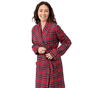 PajamaGram Cotton Flannel Robe Womens - Soft Yarn Dyed Plaid 8b4ad057d