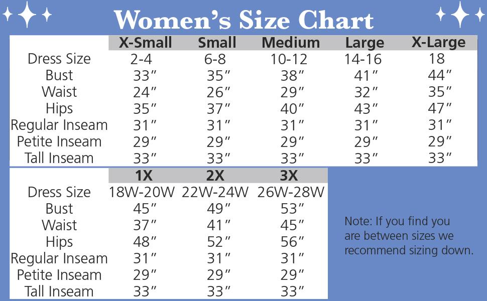 size chart women's pajamas