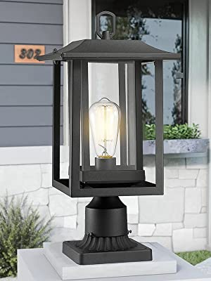 Outdoor Post Light Beionxii Exterior Post Lantern Black Clear Glass