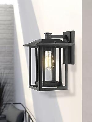 Outdoor Wall Light Sconce Beionxii Exterior Wall Mount Lantern Lighting Fixture Black Clear Glass