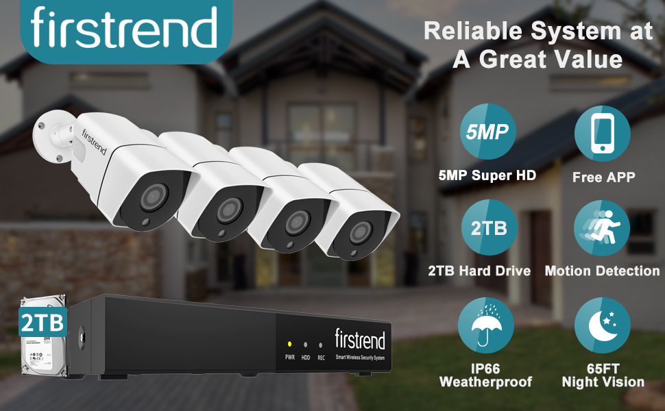 Firstrend 8CH 5MP PoE Systems with 4PCS 5MP Wired Cameras and 2TB Hard Drive Pre-installed