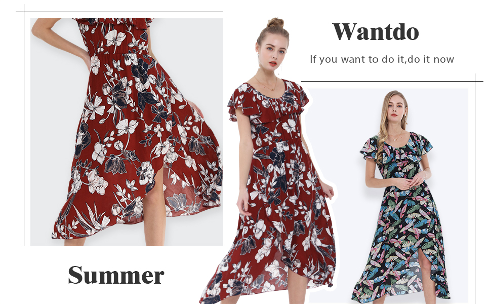 Wantdo Women's Floral Split Maxi Dress Casual Ruffles Scoop Neck Sleeveless Long Dresses