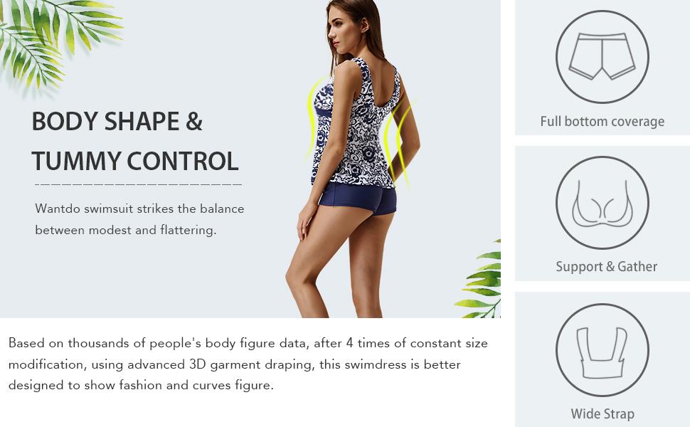 Wantdo Women's Plus Size Tankini Two Piece Swimsuit Slimming Swimwear