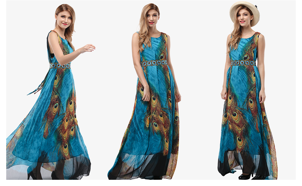 Wantdo Women's Flowy Chiffon Maxi Dress Plus Size Summer Casual Long Dresses with Belt