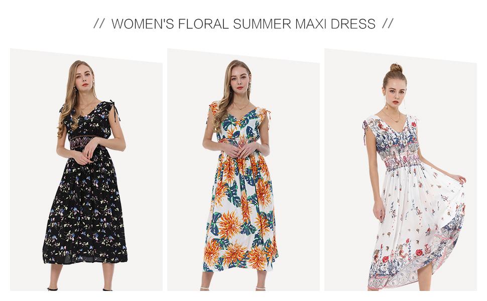 Women's Floral Summer Maxi Dress