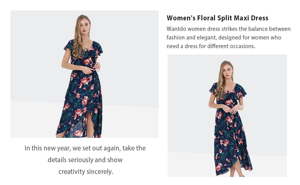 Wantdo Women's Floral Split Maxi Dress Casual Ruffles Scoop Neck Sleeveless Long Dresses