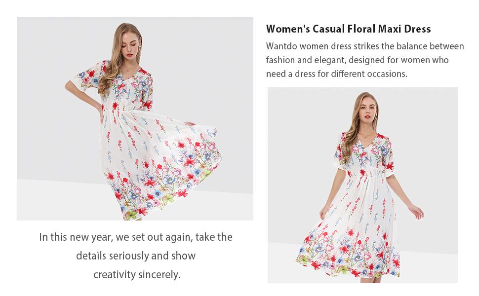 Women's Casual Floral Maxi Dress