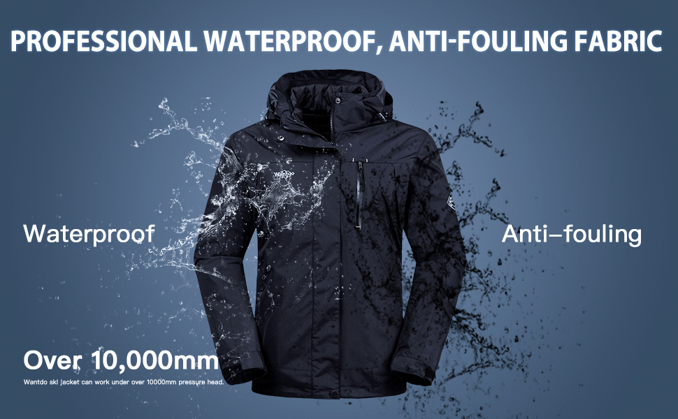 Wantdo Women's 3 in 1 Waterproof Ski Jacket Interchange