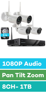 wireless security camera system ptz audio 1080p