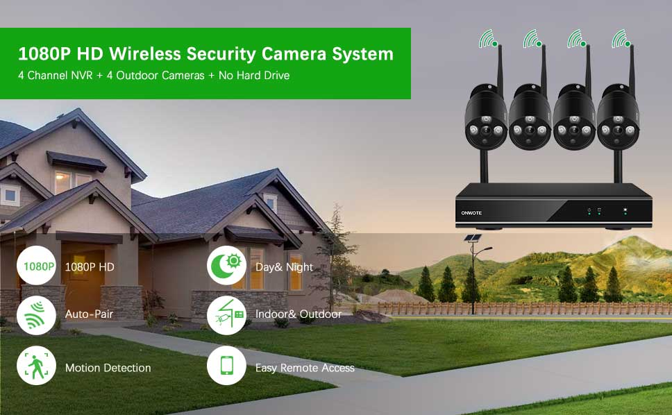 Amazon.com: ONWOTE 1080P HD Wireless WiFi Home Security Camera System with 4 Indoor/ Outdoor IR