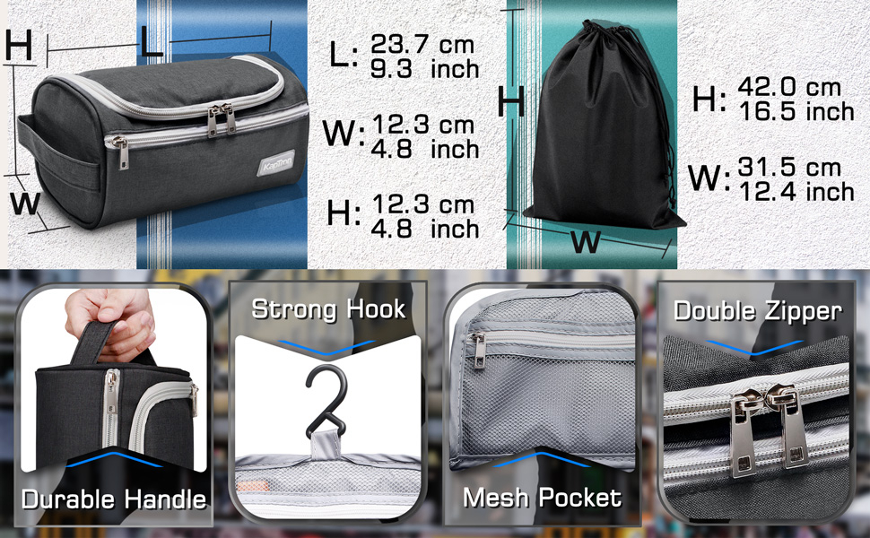 Toiletry bag size