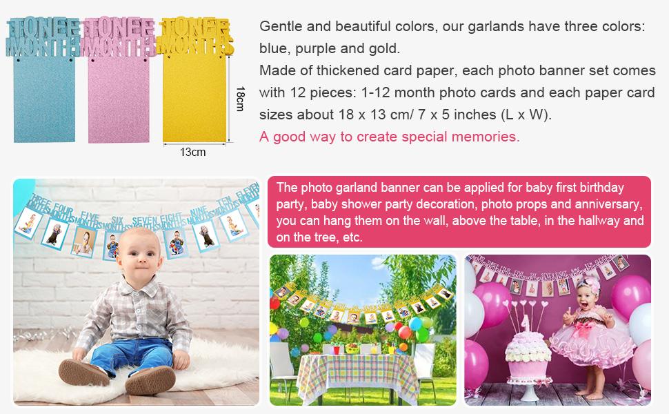 Amazon Bememo 1st Birthday Bunting Garland Baby Photo Banner