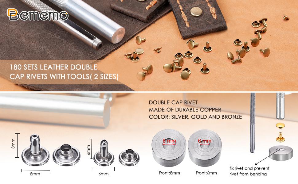 Bememo 240 Set Leather Rivets Double Cap Rivet Tubular Metal Studs 2 Sizes wi...
