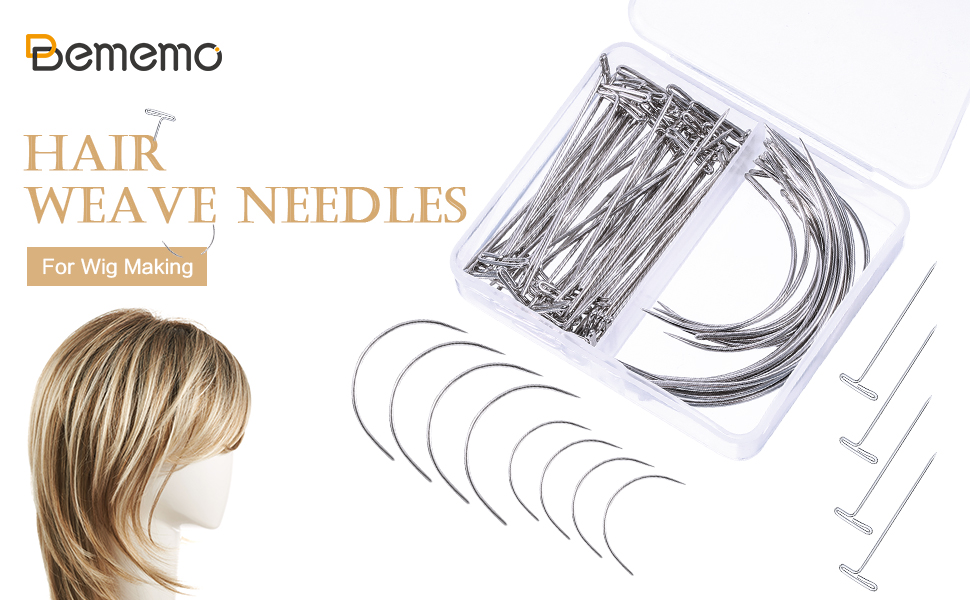 Wig Making Pins Needles Set 200 Pieces Wig T Pins and C Curved Needles Hand Sewing Needles Hair Sewing Wig for Crafts /& Wig Making