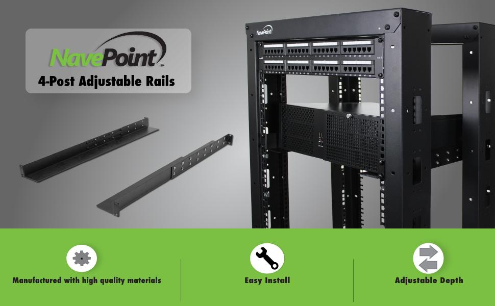 Amazing Navepoint Adjustable Rack Mount Server Shelf Shelves Rail Rails 1U Home Interior And Landscaping Dextoversignezvosmurscom