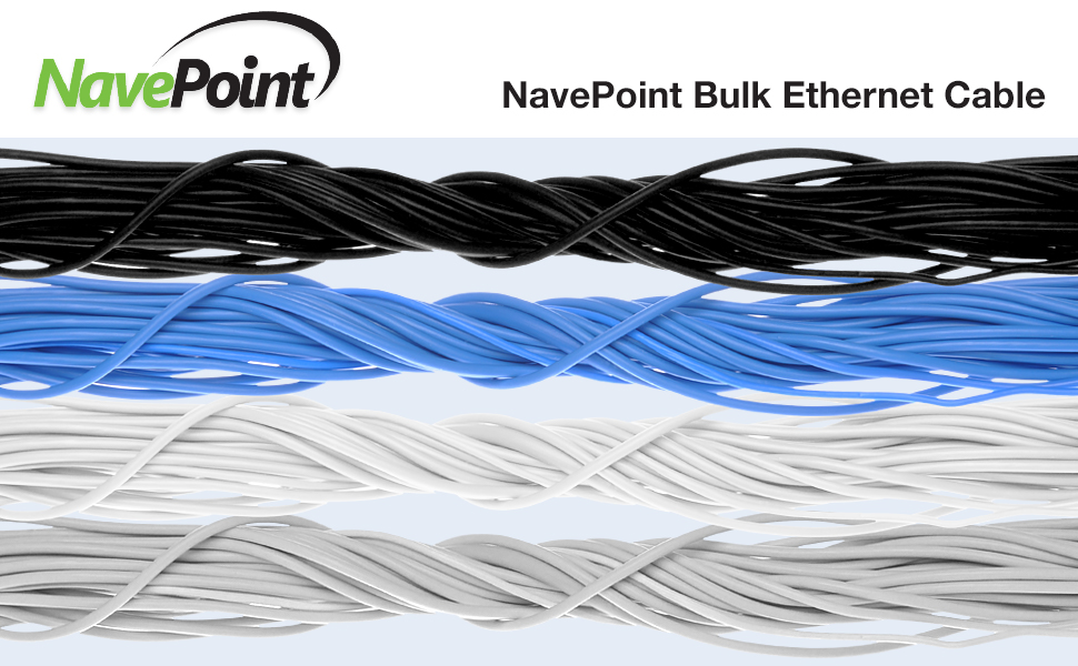 NavePoint Cat6 bulk cable available in black, blue, white, and gray