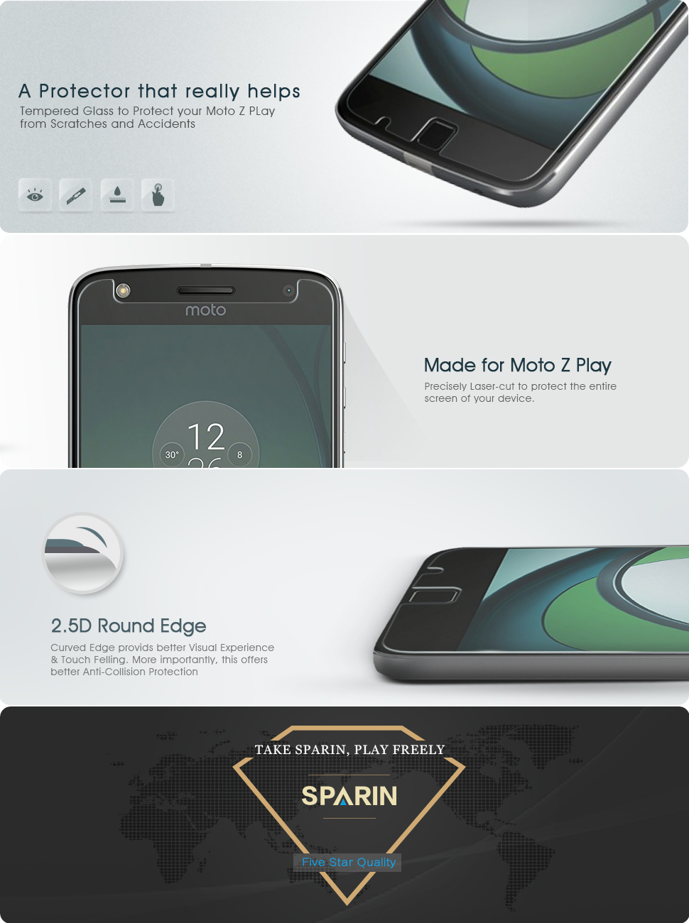 Sparin Moto Z Play Droid Tempered Glass Screen Protector [25d Round Edge]  [high Definition] [antiscratch]