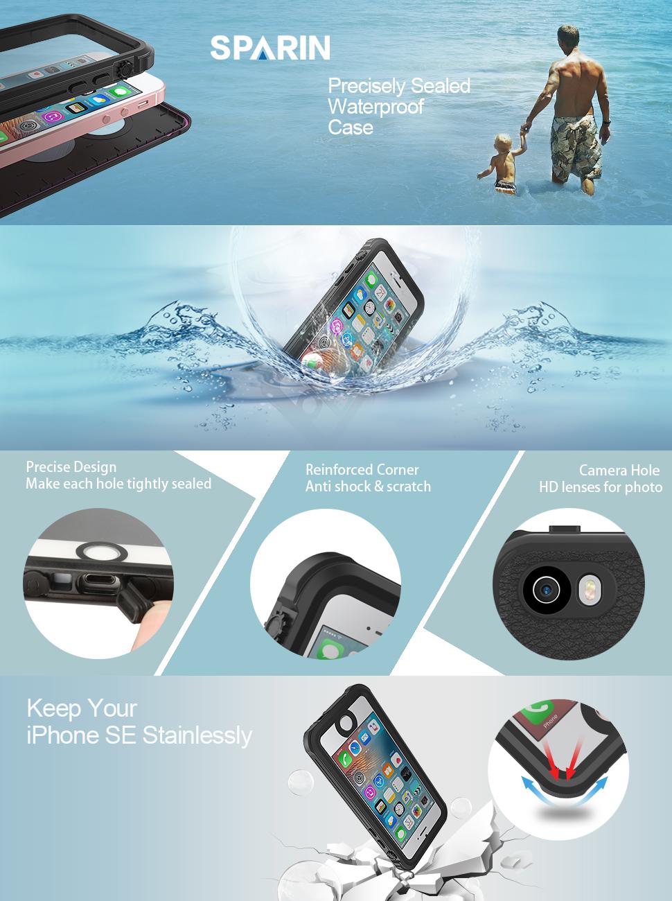 detailing 9ec34 740d2 Amazon.com: SPARIN iPhone SE Waterproof Case, iPhone 5 / 5S ...