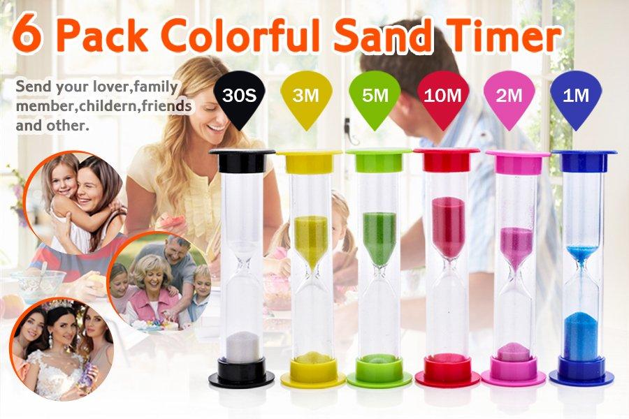 amazon com sand timer senbowetm 6 pack colorful sandglass hourglass