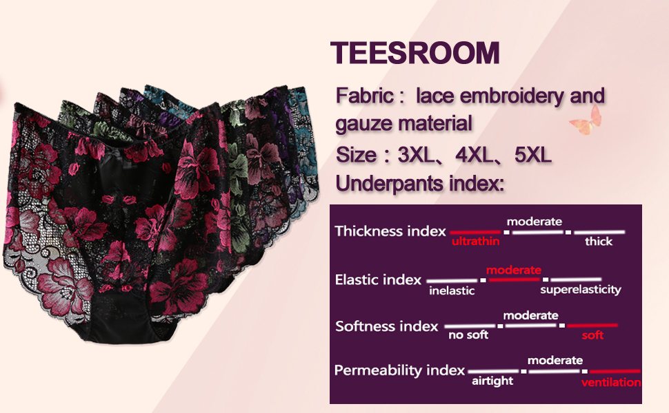 5ced8d968a6a TEESROOM Women Sexy Embroidery Flower Lace Oversized Briefs Panties ...