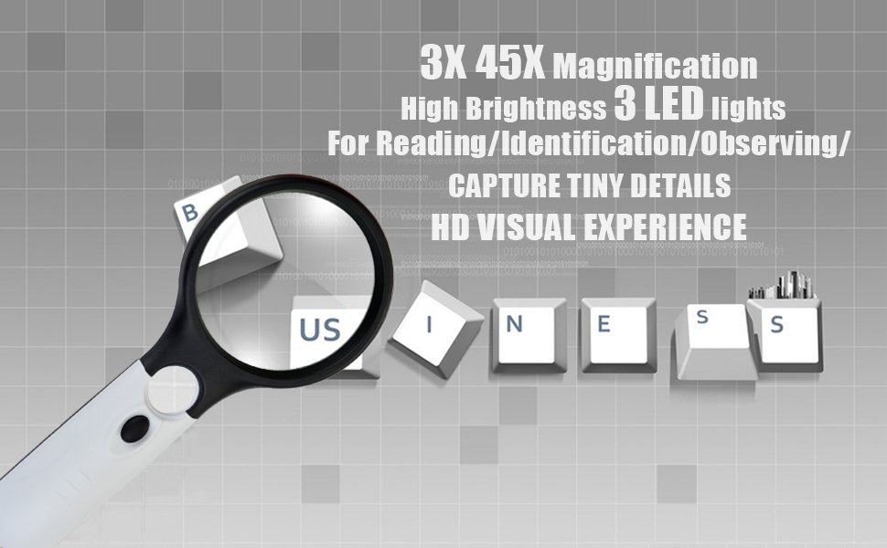 Black and White Stitching Hobby obmwang 3 LED Light 3X 45x Handheld Magnifier Illuminated Reading Magnifying Glass Lens Jewelry Loupe Ideal for Reading Crafts