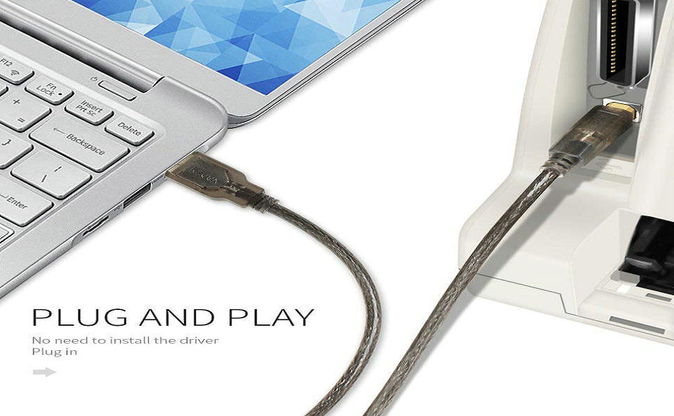 Printer USB Cable 20 Feet USB 2.0 Type A Male to B Male Cord for HP, Canon, Epson, Dell, Samsung etc