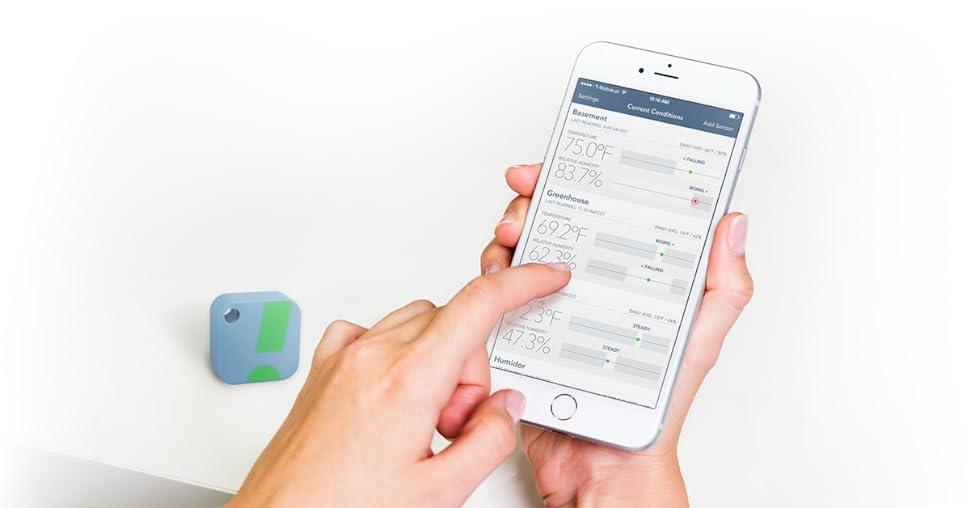 Appareil Android Fonction Alarme HT1 iPhone SensorPush Capteur Moniteur de Température et dHumidité Sans Fil – Thermomètre Hygromètre Bluetooth pour Smartphone Facile dUtilisation – Intérieur et Extérieur