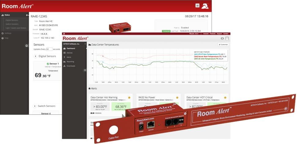 Room Alert 4ER Rack Mountable Temperature & Environment Monitor – Supports  4 external sensors, 24/7 online & software alerting and reporting, Made
