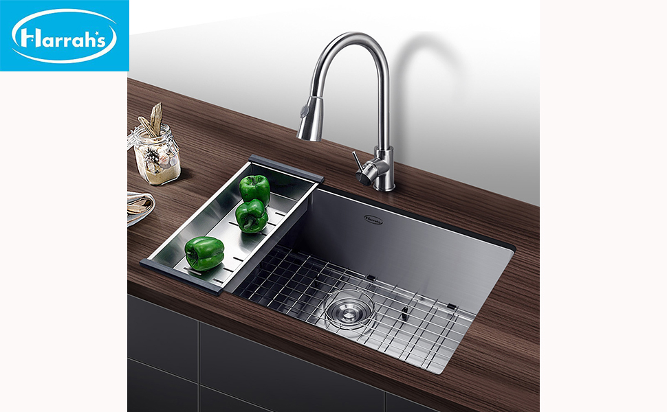 Harrahs 32 Inch Undermount Single Bowl Stainless Steel Kitchen Sink Outer  Lip Thickness 11 Gauge Basin Thickness 18 Gauge
