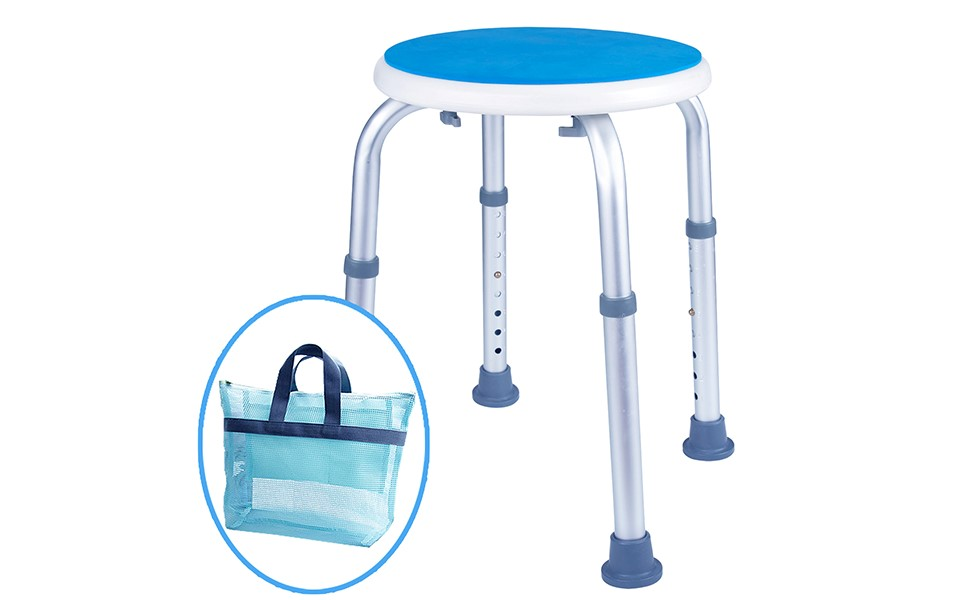 Medokare Padded Round Shower Stool - Shower Seat for Seniors with Tote Bag, Shower Bench Bath Chair for Elderly, Handicap Tub Shower Seats for Adults ...