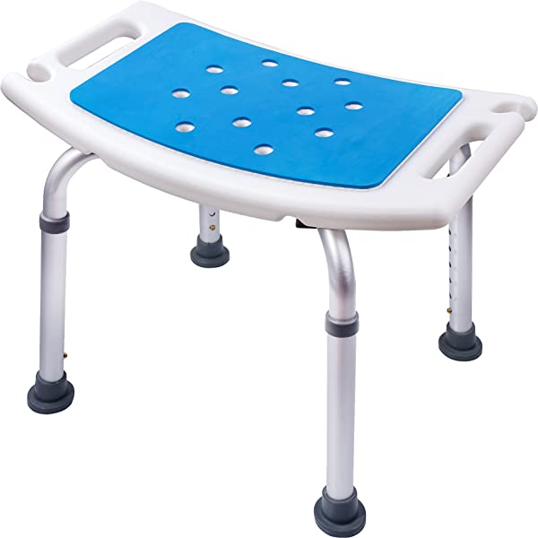 Medokare Shower Stool With Padded Seat   Shower Seat For Seniors With Gift  Shower Tote Bag