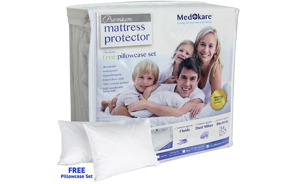 Medokare Premium Waterproof Mattress Protector with Free Pillowcase Set