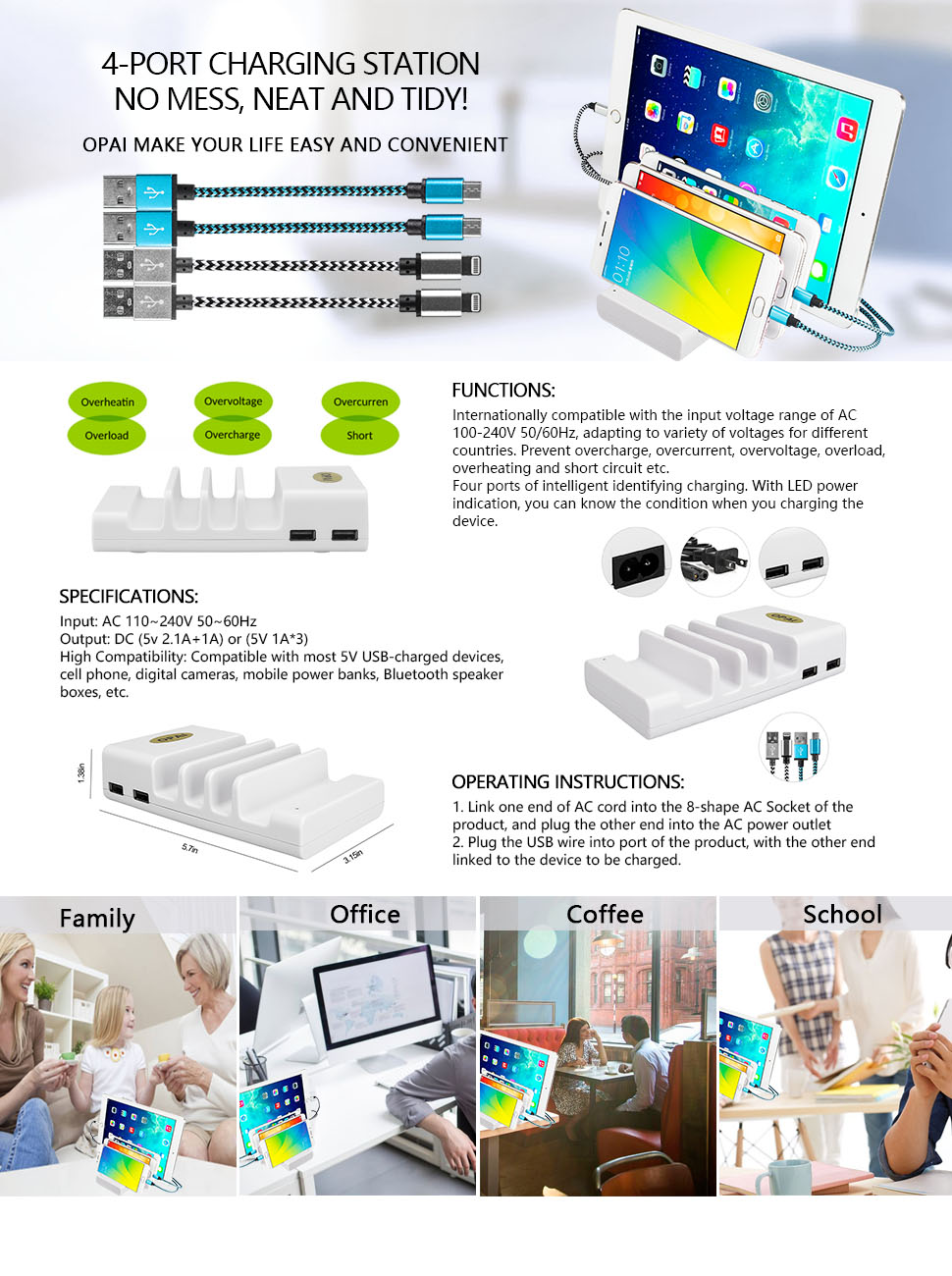 Usb Charging Station Opai 4 Ports Durable Fast Home 240v Receptacle Wiring 3 Plug Package Includes