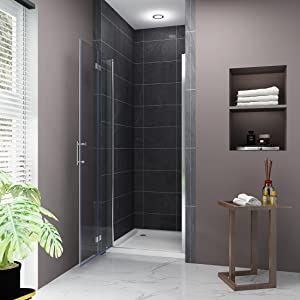 Elegant 32 W X 72 H Bi Fold Glass Shower Door 3 16 Fold Clear Glass Shower Panel Pivot Swing Frameless Shower Doors Chrome Finish Amazon Com