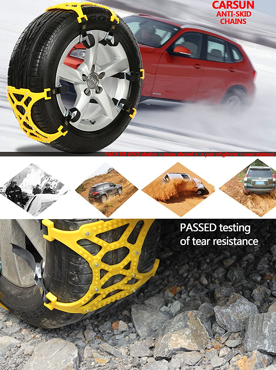 snow chains for universal tires emergency anti skid chains thickening car wheel. Black Bedroom Furniture Sets. Home Design Ideas