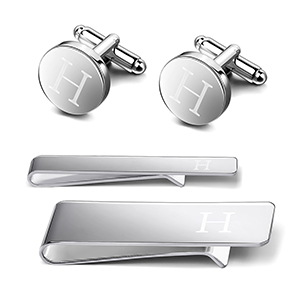 Silver Tone Key Shaped Cuffing and Tie Tack