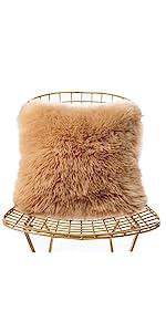 a kakhi faux fur pillow