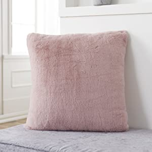 a dusty pink rabbit faux fur pillow cover