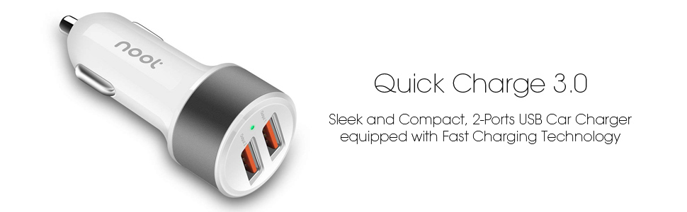 noot products USB Car Charger 36W Dual Port Quick Charge 3.0 Fast Charging Compatible for iPhone 11(Max,Pro) XS/XR/X/8/plus/7/6s/6 Samsung Galaxy ...