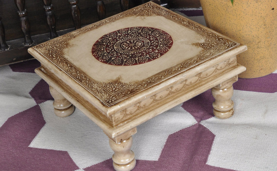 Here We Presents A Beautiful Handmade And Hand Painted Small Off White Table.  These Tables Are Called Chowki In India And People Use These In Worship  Places ...