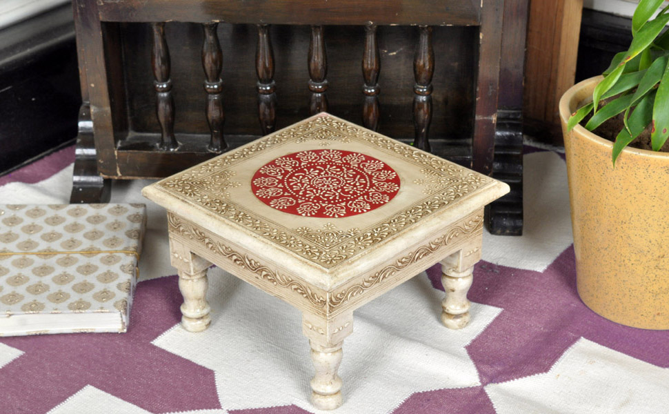 Bon Here We Presents A Beautiful Handmade And Hand Painted Small Off White Table.  These Tables Are Called Chowki In India And People Use These In Worship  Places ...