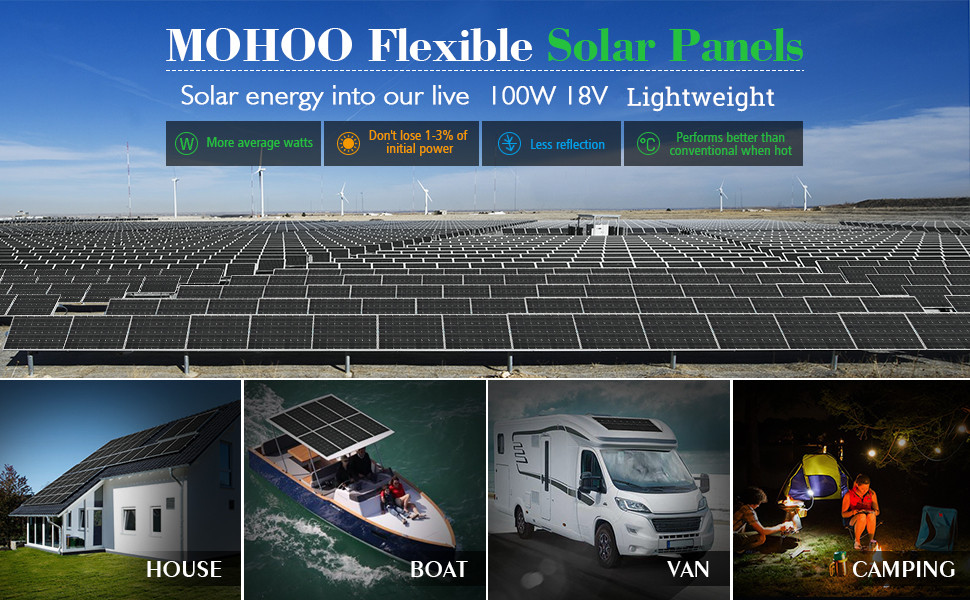 Amazon Com Flexible Solar Panel Mohoo 100w 18v Ultra