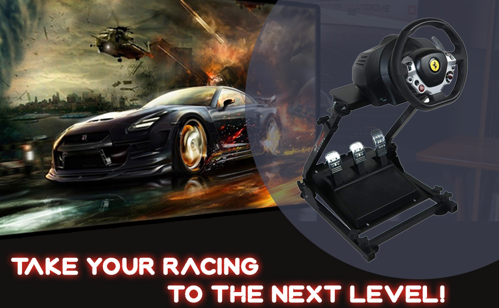 Compact & foldable racing stand for ultimate gaming experience.