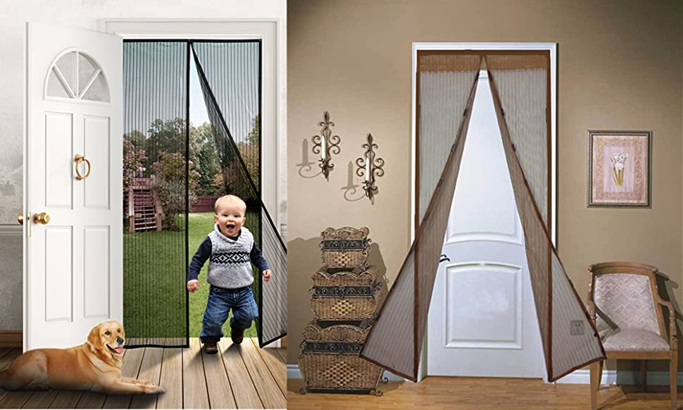 ELEOPTIONMagic Mesh Magnetic Hands Free Screen Door The Screen Magnets Form  A Complete Seal That Automatically Re Attaches After Walk Thru.