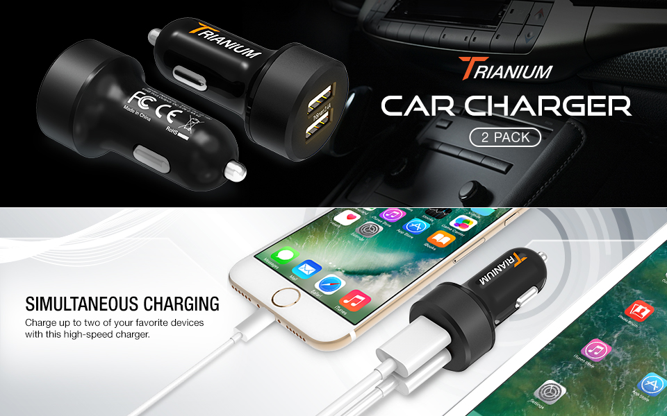 Trianium Car Charger 24W 4.8A Dual USB Phone Charger (2-Pack) with AtomicDrive Smart Ports for iPhone XR XS Max X 8 7 6s 6 SE Plus, iPad Pro/Air/Mini, ...
