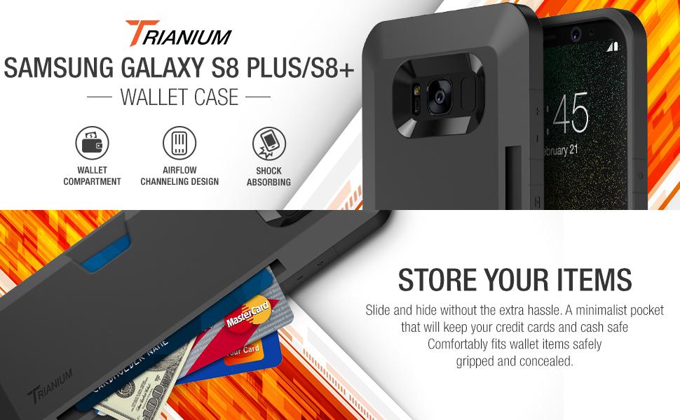 new product f1ac5 348ef Amazon.com: Trianium Galaxy s8 Plus Wallet Case - Dual Layer Premium ...