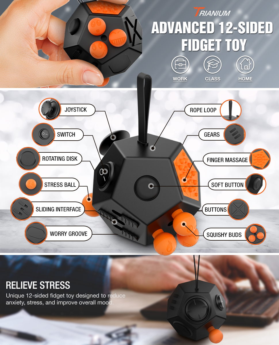 Worthit Trianium Fidget Cube Anti Stress Anti Anxiety And